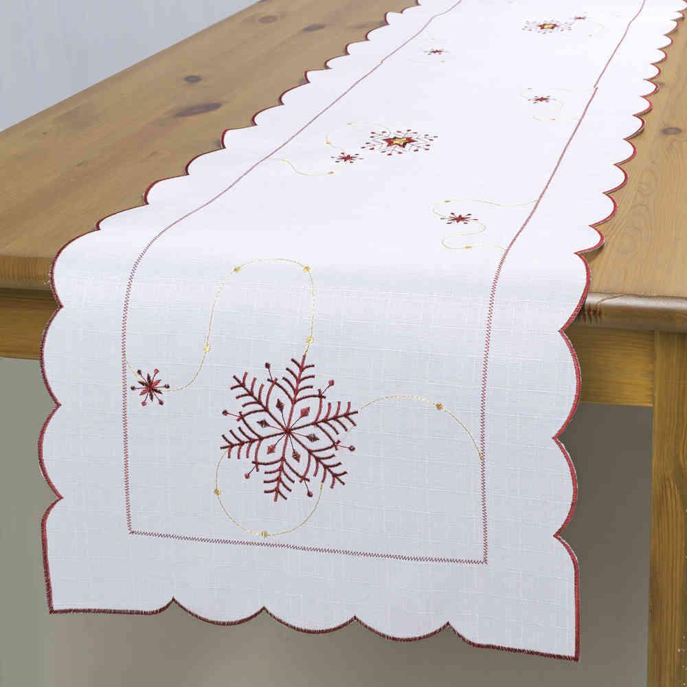 Дорожка для декорирования стола Schaefer, цвет: белый, красный, 35 см х 140 см. 07667-23007667-230Дорожка Schaefer, выполненная из полиэстера, станет изысканным украшением интерьера в преддверии Нового года. Изделие декорировано красиво обработанным волнистым краем и вышивкой в виде снежинок. Такую дорожку можно использовать для украшения комодов, тумб и столов. За текстилем из полиэстера очень легко ухаживать: он легко стирается, не мнется, не садится и быстро сохнет, более долговечен, чем текстиль из натуральных волокон. Такая дорожка изящно дополнит интерьер вашего дома.