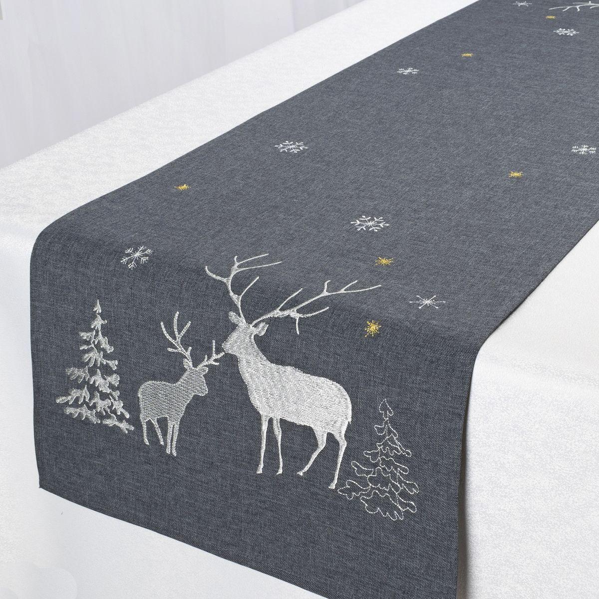 Дорожка для декорирования стола Schaefer, цвет: темно-серый, 40 х 140 см 07670-21107670-211Дорожка Schaefer, выполненная из полиэстера, станет изысканным украшением интерьера в преддверии Нового года. Изделие декорировано красивой вышивкой в виде оленей. Такую дорожку можно использовать для украшения комодов, тумб и столов. За текстилем из полиэстера очень легко ухаживать: он легко стирается, не мнется, не садится и быстро сохнет, более долговечен, чем текстиль из натуральных волокон. Такая дорожка изящно дополнит интерьер вашего дома.