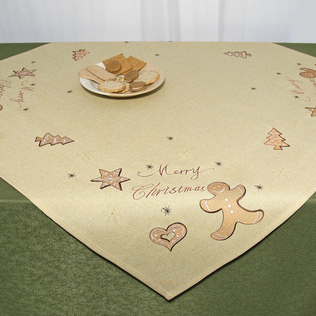 Скатерть Schaefer, квадратная, цвет: бежевый, 85 x 85 см 07674-10007674-100Квадратная скатерть Schaefer, выполненная из полиэстера, станет украшением новогоднего стола. Изделие декорировано оригинальной вышивкой в виде пряников, снежинок и надписи: Merry Christmas. За текстилем из полиэстера очень легко ухаживать: он легко стирается, не мнется, не садится и быстро сохнет, более долговечен, чем текстиль из натуральных волокон. Использование такой скатерти сделает застолье торжественным, поднимет настроение гостей и приятно удивит их вашим изысканным вкусом. Это текстильное изделие станет изысканным украшением вашего дома!