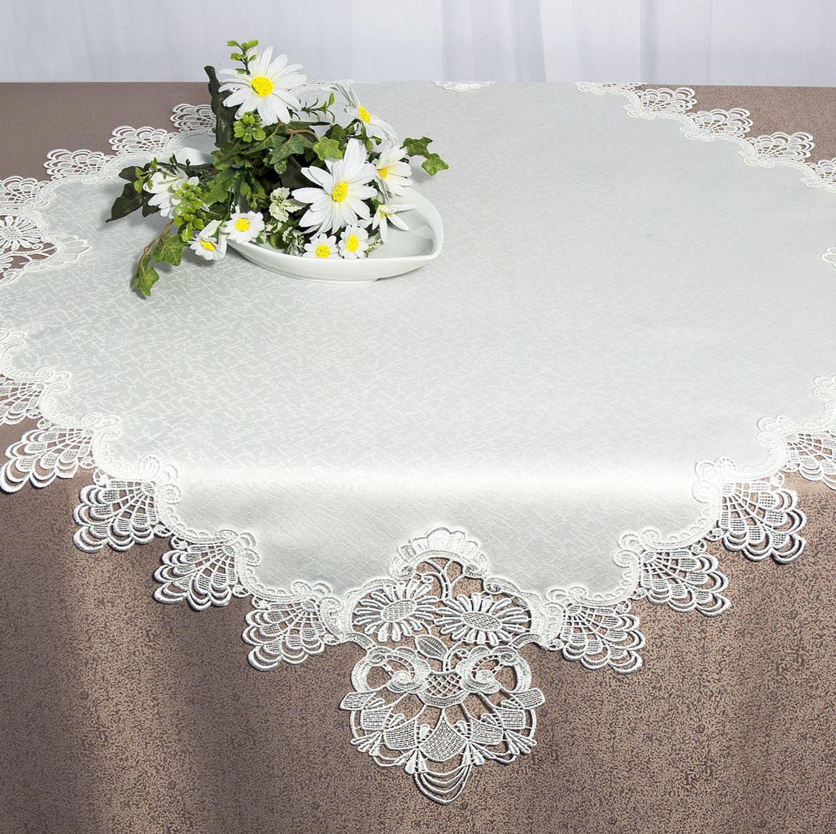 Скатерть Schaefer, квадратная, цвет: белый, 85 х 85 см 30163016Квадратная скатерть Schaefer, выполненная из полиэстера, станет изысканным украшением стола. Изделие декорировано изящным кружевом. За текстилем из полиэстера очень легко ухаживать: он не мнется, не садится и быстро сохнет, легко стирается, более долговечен, чем текстиль из натуральных волокон. Изделие прекрасно послужит для ежедневного использования на кухне или в столовой, а также подойдет для торжественных случаев и семейных праздников. Стильный дизайн и качество исполнения сделают такую скатерть отличным приобретением для дома. Это текстильное изделие станет элегантным украшением интерьера!