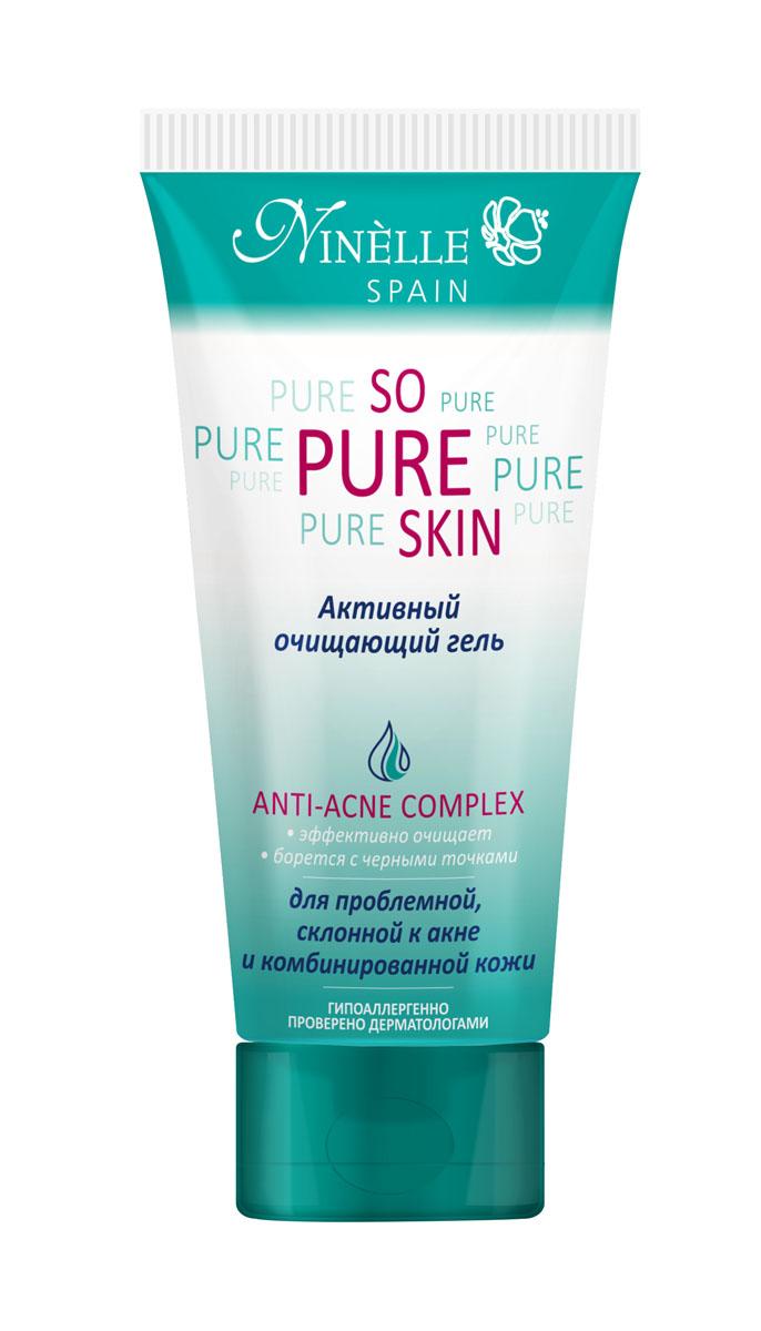 Ninelle So Pure Skin Активный очищающий гель для лица, 100 мл1063N10772Гель легко удаляет макияж и загрязнения, при регулярном использовании устраняет жирный блеск, стягивает поры, предотвращает появление черных точек. Комплексное использование средств серии SO PURE SKIN гарантирует антибактериальный и противовоспалительный эффект, предотвращает появление новых воспалений, в значительной степени нормализует работу сальных желез, глубоко очищает, матирует кожу и сужает поры. Содержит Hydromanil complex, Asebiol complex, Масло чайного дерева, Д-пантенол.