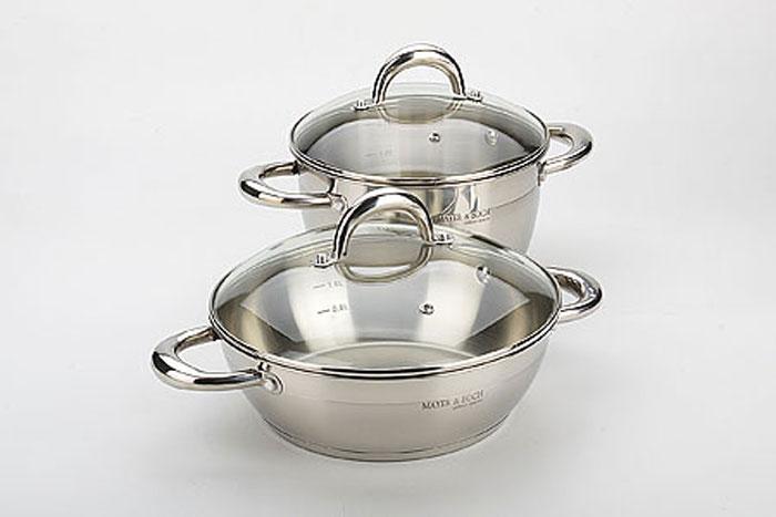 20835 Набор посуды(4 пр)(3,6+ск3,2л) (х4)20835Набор кастрюль 4 предмета: - кастрюля 3,6 л, D20х11,5 см - сотейник 3,2 л, D24х7,5 см - стеклянная крышка D20 - стеклянная крышка D24 Материал: нержавеющая сталь (CrNi 18/10), термостойкое стекло, индукционное дно Размер упаковки:27х27,5х21 см Вес коробки: 3,750 кг Набор посуды состоит из кастрюли с крышкой и сотейника. Предметы набора выполнены из высококачественной пищевой нержавеющей стали марки 18/10. Капсулированное дно с вплавленной алюминиевой прослойкой позволяет равномерно распределять и значительно дольше сохранять тепло в посуде, а также предотвращает пригорание пищи и обеспечивает более быстрое приготовление блюд с сохранением вкусовых и полезных свойств продуктов. Удобные ручки, выполненные из нержавеющей стали, надежно крепятся к корпусу посуды. Крышки, выполненная из термостойкого стекла, что позволит вам следить за процессом приготовления пищи. Они имеют отверстие для выхода пара и металлический обод. Крышки плотно прилегает к краям кастрюль, предотвращая проливание...