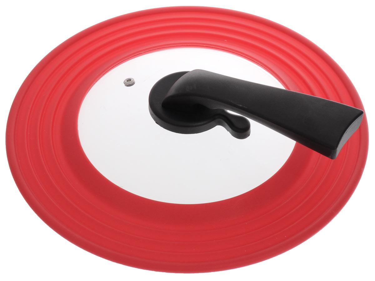 Крышка универсальная Miolla, цвет: красный, для сковород и кастрюль диаметром 22, 24, 26, 28 см1015033UУниверсальная крышка Miolla подходит для сковород и кастрюль диаметром 22-28 см. Она изготовлена из огнеупорного стекла с высококачественным силиконовым ободом. Изделие оснащено отверстием для вывода пара и ручкой-подставкой из термостойкого материала. Можно мыть в посудомоечной машине. Не подходит для использования в духовке.