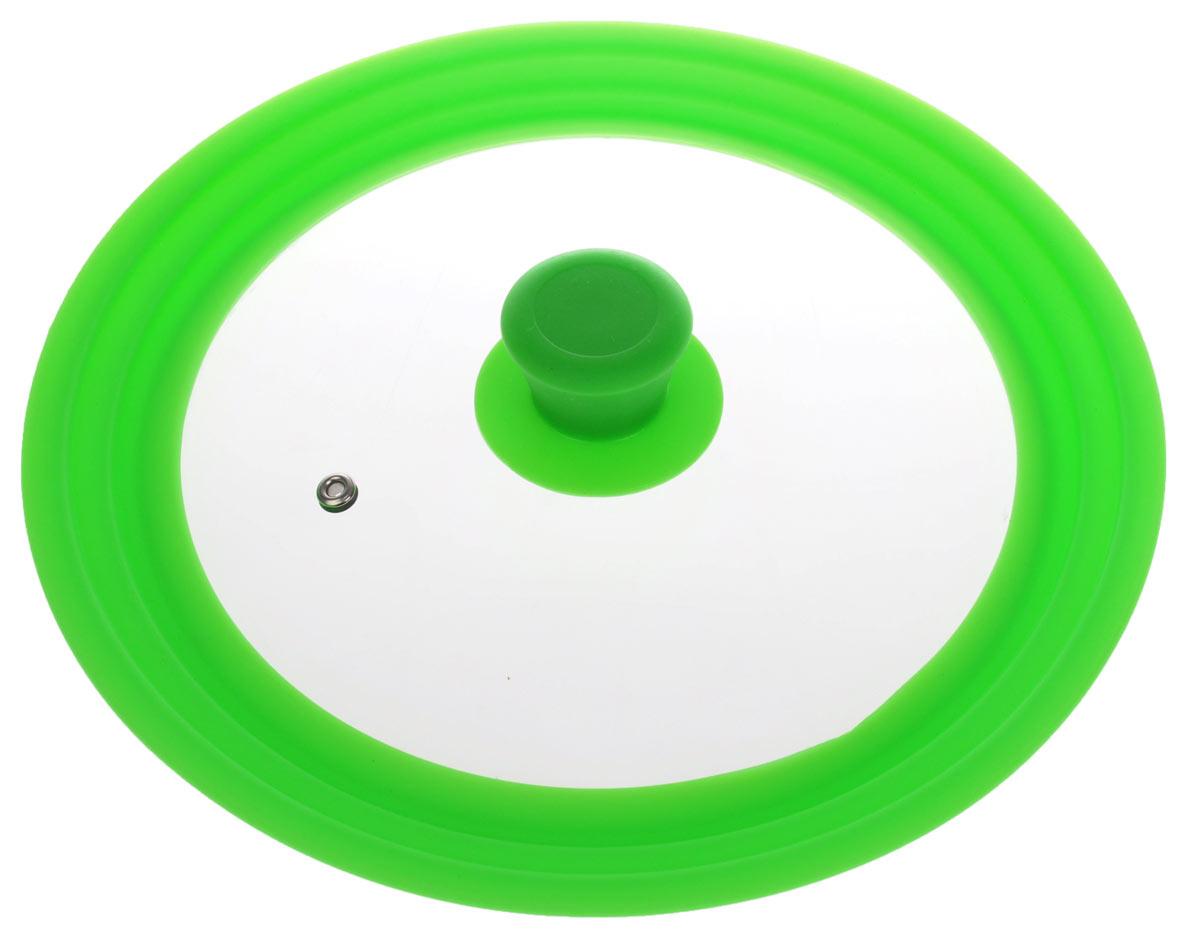 Крышка универсальная Miolla, цвет: зеленый, для сковород и кастрюль диаметром 22, 24, 26 см1015024UУниверсальная крышка Miolla подходит для сковород и кастрюль диаметром 22 см, 24 см и 26 см. Она изготовлена из огнеупорного стекла с высококачественным силиконовым ободом. Изделие оснащено отверстием для вывода пара и ненагревающейся ручкой. Можно мыть в посудомоечной машине. Подходит для использования в духовке до 180°С.