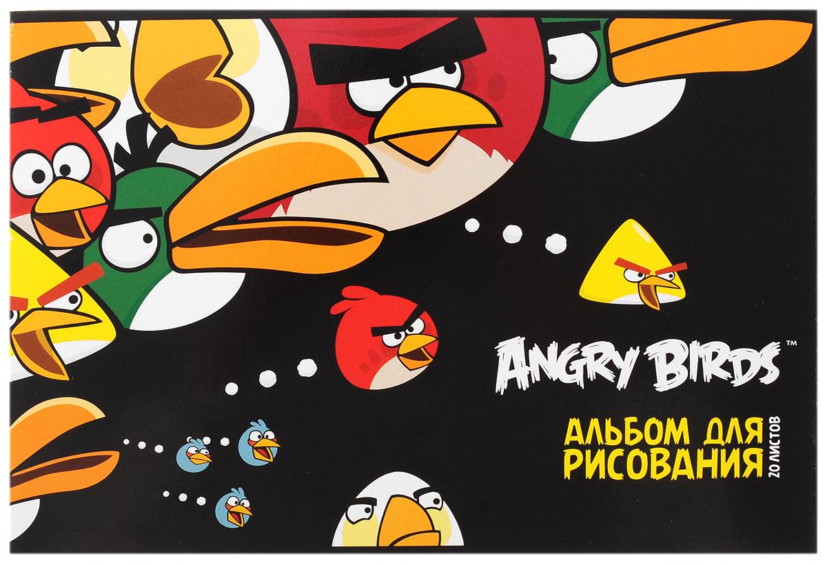 Hatber Альбом для рисования Angry Birds 20 листов цвет черный