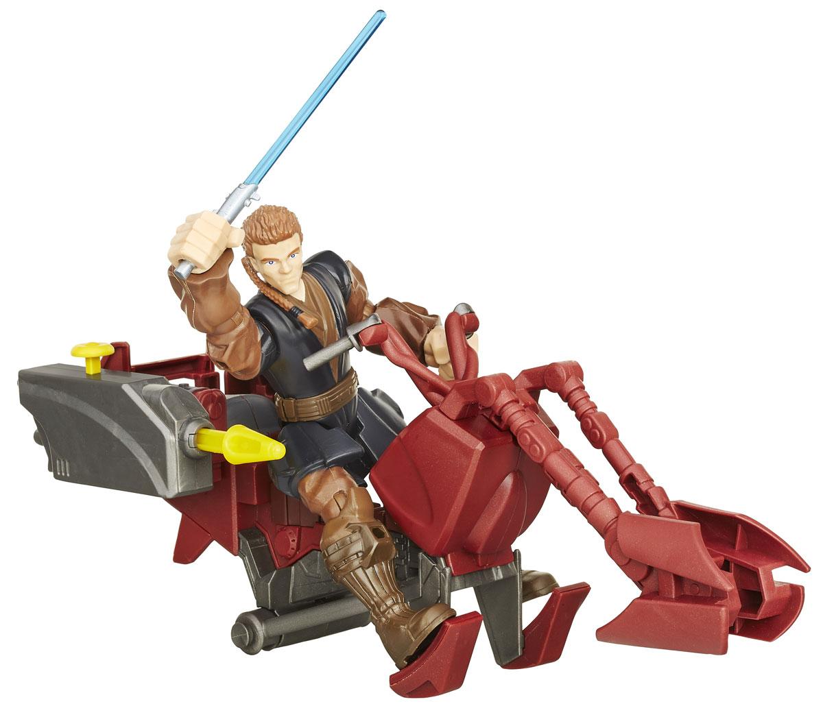 HeroMashers Фигурка сборная Лихачи Звездных войн Jedi SpeederB3831EU4_B3833Игровой набор с фигуркой создана в виде героя всеми любимой фантастической саги Звездные Войны - Jedi Speeder. Фигурка из пластика проработана до мельчайших деталей и является точной копией своего прототипа в уменьшенном размере. Конечности фигурки подвижны: поворачивается голова, сгибаются ноги и руки. Все это сделает игру реалистичной и разнообразной. Части тела могут быть отсоединены и присоединены к другим фигуркам из линейки. Такая фигурка непременно понравится поклоннику Звездных войн и станет замечательным украшением любой коллекции. В комплекте с фигуркой идет скоростной байк, оснащенный оружием.