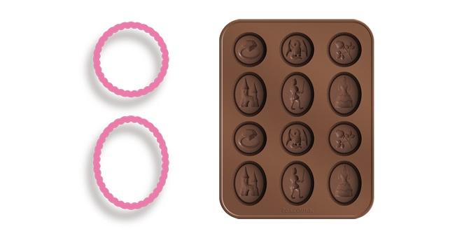 Набор для выпечки Tescoma Delicia Kids. Сказка, 4 предмета630960Набор Tescoma Delicia Kids. Сказка состоит из пресса для теста, подставки, выполненных из высококачественного пластика и формы для выпечки. Форма, изготовленная из высококачественного пищевого силикона, оснащена 12 ячейками (6 круглых и 6 овальных) с изображениями сказочных героев и предназначена для изготовления шоколада, конфет, мармелада, желе, льда и многого другого. Благодаря тому, что форма выполнена из силикона, готовый десерт вынимать легко и просто. Силиконовые форма выдерживает высокие и низкие температуры (от -40°С до +230°С). Она эластична, износостойка, легко моется, не горит и не тлеет, не впитывает запахи, не оставляет пятен. Силикон абсолютно безвреден для здоровья. Подходит для холодильников, морозильников и микроволновой печи. Можно мыть в посудомоечной машине. Общий размер формы: 18,5 см х 14,5 см х 1,3 см. Количество ячеек: 12 шт. Средний размер ячеек: 4,2 см х 3,2 см х 0,7 см. Размер...