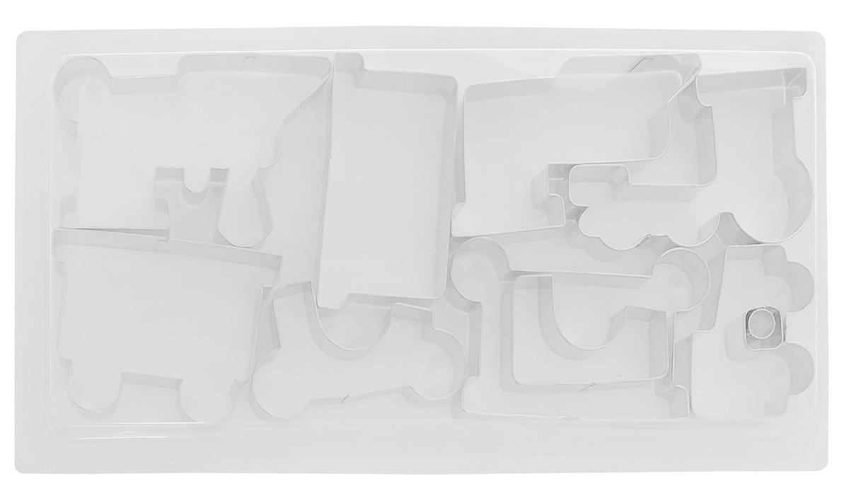 Набор для выпечки пряников Tescoma Пряничный поезд, 11 предметов631442Набор формочек для создания оригинального поезда из домашних пряников содержит 11 формочек. Набор формочек для выпечки пряников Tescoma Пряничный поезд - замечательное развлечение для всей семьи. Инструкция по применению и рецепт внутри набора. После использования формочки промыть под проточной водой и просушить. Не мыть в посудомоечной машине.