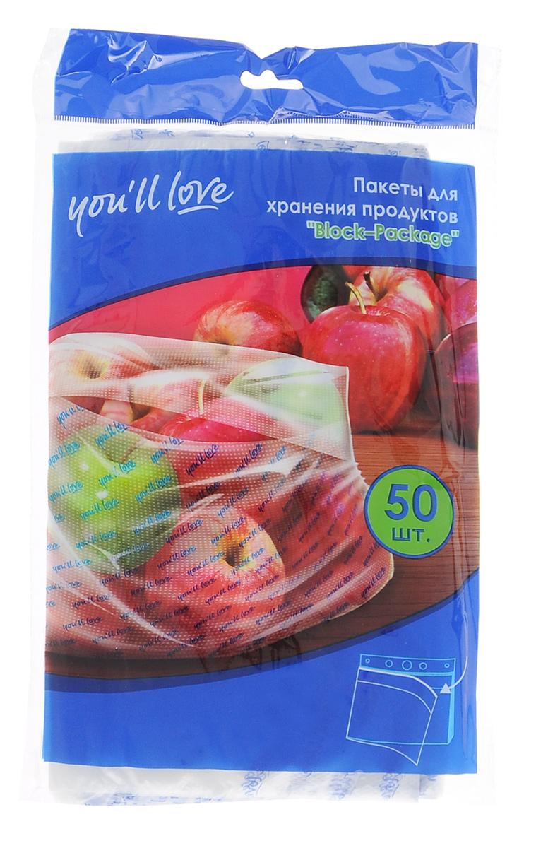 Пакеты You`ll love Universal, 21 х 46 см, 30 шт61150Пакеты You`ll love Universal изготовлены из полиэтилена низкого давления, нетоксичного материала. Пакеты предназначены для хранения и транспортировки овощей, фруктов и других продуктов. Они оснащены удобными ручками для переноски. Пакеты декорированы изображением различных продуктов. Пакеты You`ll love Universal станут незаменимыми в хозяйстве.