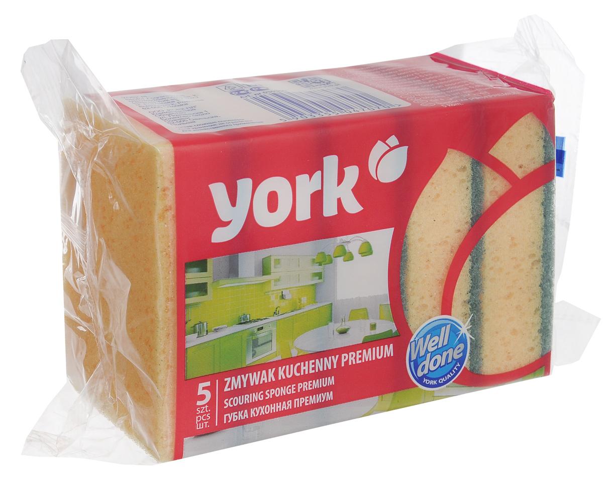 Губки для мытья посуды York Премиум, цвет: желтый, синий, 5 шт3030Губки для мытья посуды York Премиум, выполненные из сложных полимеров, эффективно удаляют даже сильные загрязнения, а также жир. Они отлично впитывают воду и хорошо пенятся. Губки York Премиум сохраняют чистоту и свежесть даже после многократного применения. Размер губки: 10,5 см х 7,5 см х 3,5 см.