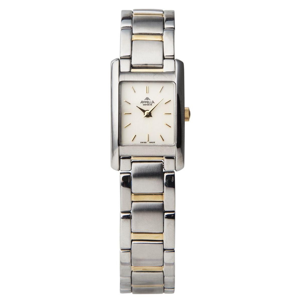 Часы наручные женские Apella, цвет: стальной, золотой. A-590-2002A-590-2002Элегантные женские часы Apella выполнены из нержавеющей стали и минерального стекла. Циферблат изделия оформлен символикой бренда. Корпус часов оснащен кварцевым механизмом с двумя стрелками, имеет степень влагозащиты равную 3 atm, а также дополнен минеральным стеклом. Браслет застегивается на практичный замок-бабочку. Изделие поставляется в фирменной упаковке. Часы Apella подчеркнут изящность женской руки и отменное чувство стиля у их обладательницы.