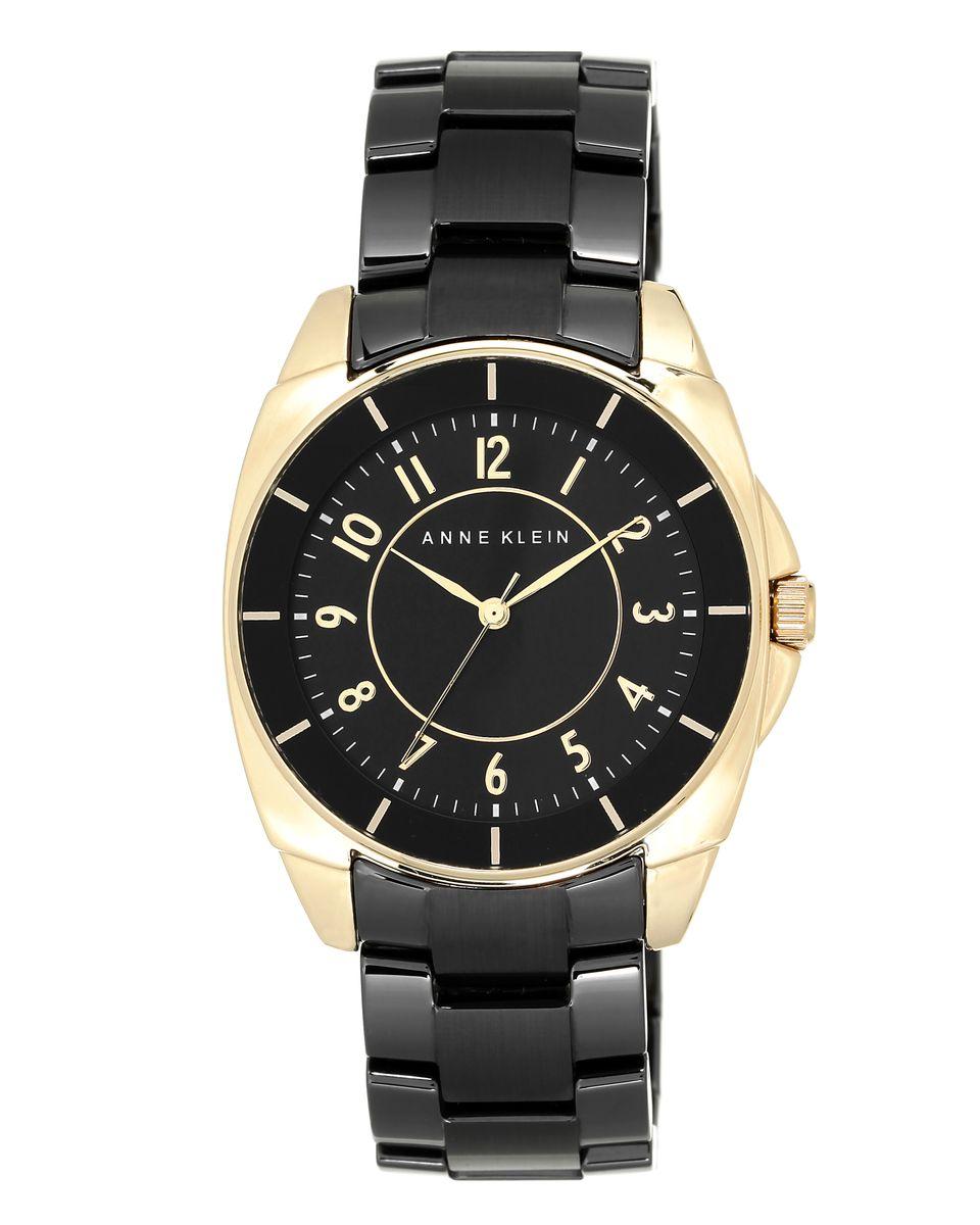 Наручные часы женские Anne Klein, цвет: черный,золотой. 1978BKGB1978BKGBКорпус- металл, PVD покрытие золотистого цвета, 36 мм, циферблат черного цвета, браслет- керамика черного цвета, стекло минеральное, кварцевый механизм, водозащита- 3 АТМ