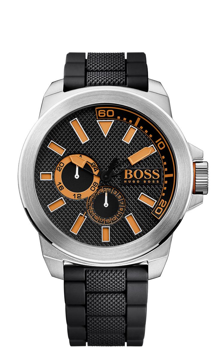 Наручные часы мужские Boss Orange, цвет: серебристый, черный. BO1513011BO1513011Кварцевые часы, 3 стрелки, дата, 24 часа, корпус из нержавеющей стали, D=50 мм., минеральное стекло, ремешок из силикона, WR 30 м.
