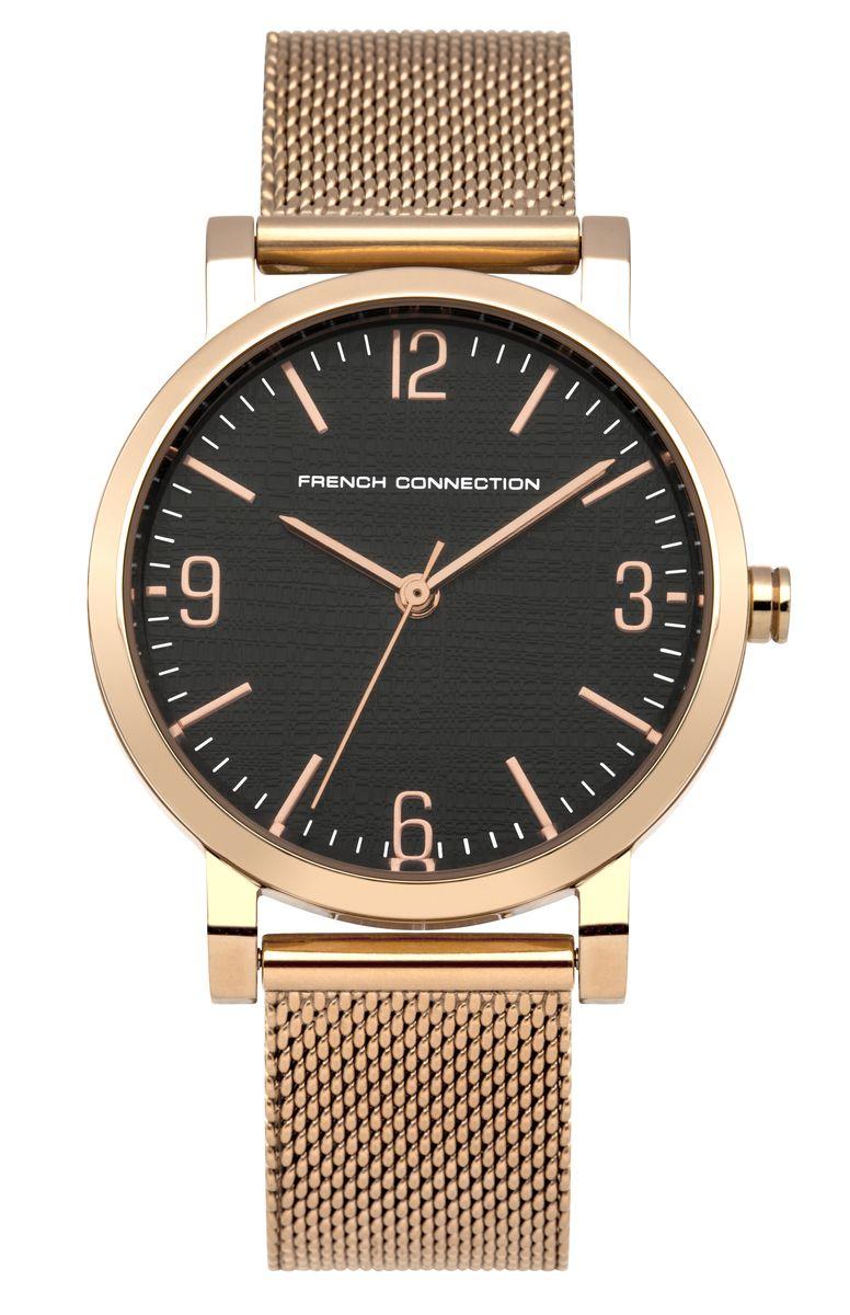 Часы наручные женские French Connection , цвет: золотой, черный. FC1249RGMFC1249RGMЭлегантные женские часы French Connection выполнены из нержавеющей стали и минерального стекла. Циферблат часов дополнен символикой бренда. Корпус часов оснащен кварцевым механизмом, имеет степень влагозащиты равную 3 atm, а также дополнен устойчивым к царапинам минеральным стеклом. Ремешок часов оснащен замком-защелкой, который имитирует пряжку и позволит с легкостью снимать и надевать изделие. Часы поставляются в фирменной упаковке. Часы French Connection подчеркнут изящность женской руки и отменное чувство стиля у их обладательницы.