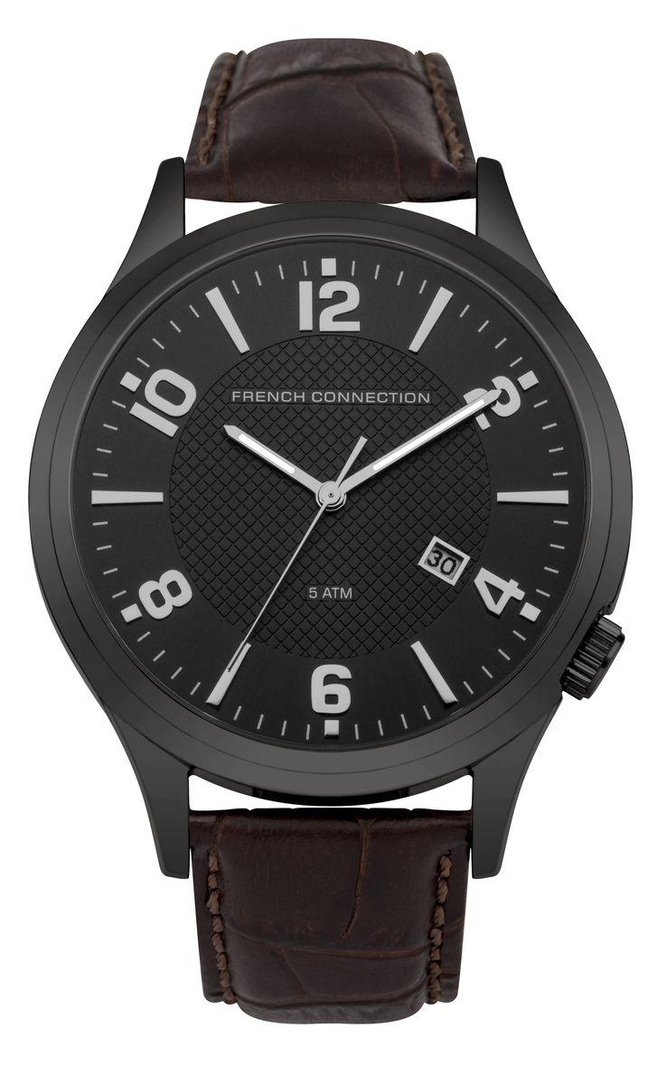 Часы наручные мужские French Connection , цвет: черный, коричневый. FC1260TBFC1260TBСтильные мужские часы French Connection, выполнены из металлического сплава, натуральной кожи с тиснением под рептилию и минерального стекла. Циферблат часов дополнен символикой бренда. Часы оснащены кварцевым механизмом, имеют степень влагозащиты равную 5 atm, а также дополнены устойчивым к царапинам минеральным стеклом и индикатором даты. Стрелки часов дополнены светящимся составом. Ремешок часов оснащен классической пряжкой, которая позволит с легкостью снимать и надевать изделие. Часы поставляются в фирменной упаковке. Часы French Connection подчеркнут отменное чувство стиля своего обладателя.