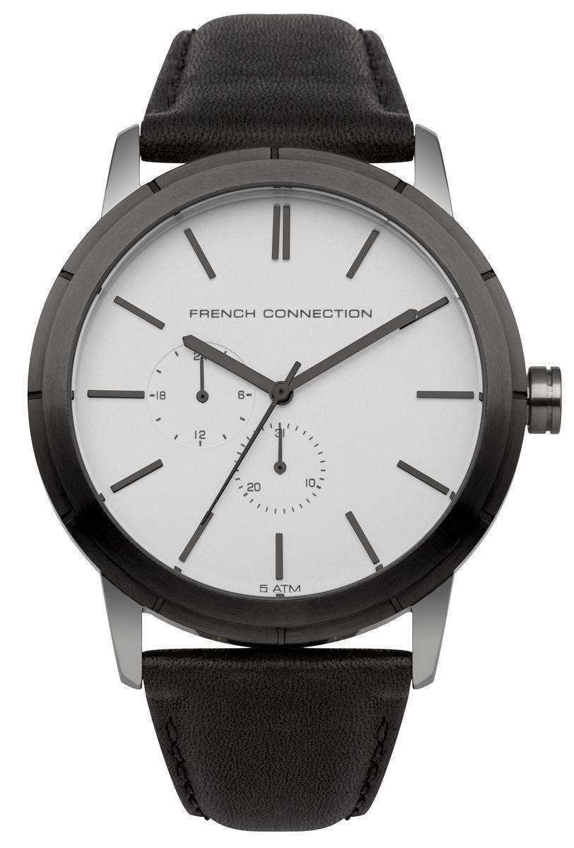 Часы наручные мужские French Connection , цвет: стальной, черный. FC1261BEFC1261BEСтильные мужские часы French Connection, выполнены из нержавеющей стали, натуральной кожи и минерального стекла. Циферблат часов дополнен символикой бренда. Часы оснащены кварцевым механизмом, имеют степень влагозащиты равную 5 atm, а также дополнены устойчивым к царапинам минеральным стеклом и индикатором даты. Ремешок часов оснащен классической пряжкой, которая позволит с легкостью снимать и надевать изделие. Часы поставляются в фирменной упаковке. Часы French Connection подчеркнут отменное чувство стиля своего обладателя.