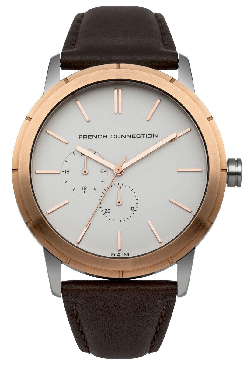 Часы наручные мужские French Connection , цвет: золотой, белый, коричневый. FC1261TRGFC1261TRGСтильные мужские часы French Connection, выполнены из нержавеющей стали, натуральной кожи и минерального стекла. Циферблат часов дополнен символикой бренда. Часы оснащены кварцевым механизмом, имеют степень влагозащиты равную 5 atm, а также дополнены устойчивым к царапинам минеральным стеклом и индикатором даты. Ремешок часов оснащен классической пряжкой, которая позволит с легкостью снимать и надевать изделие. Часы поставляются в фирменной упаковке. Часы French Connection подчеркнут отменное чувство стиля своего обладателя.