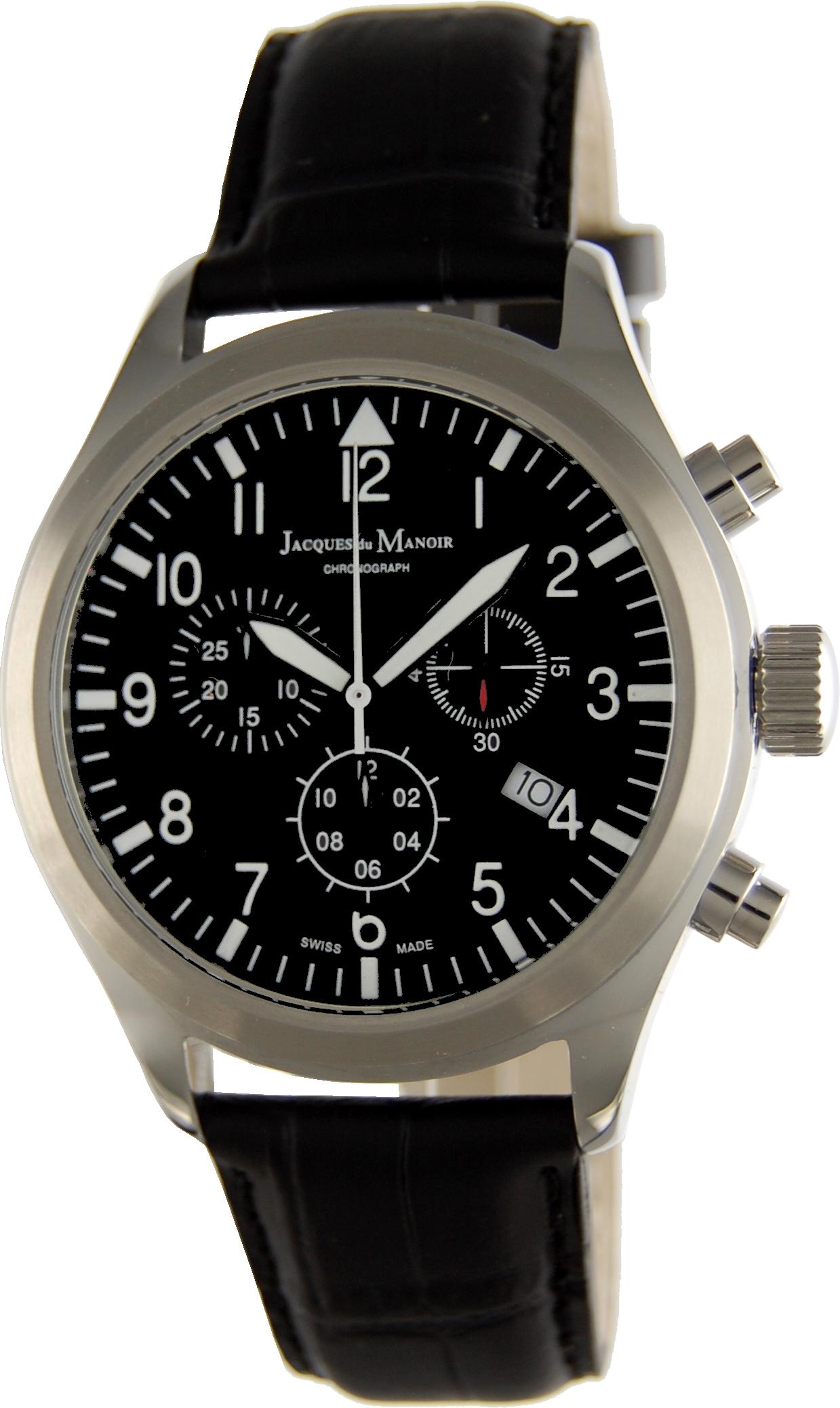 Наручные часы мужские Jacques du Manoir, цвет: серебристый, черный. CHR.20CHR.20Swiss Made, кварцевый механизм с хронографом, диаметр корпуса 44 mm, IP-покрытие, закаленное минеральное стекло, водозащита 5 ATM, ремешок из натуральной кожи.
