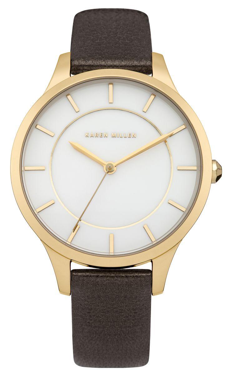 Часы наручные женские Karen Millen, цвет: золотой, коричневый. KM133TG