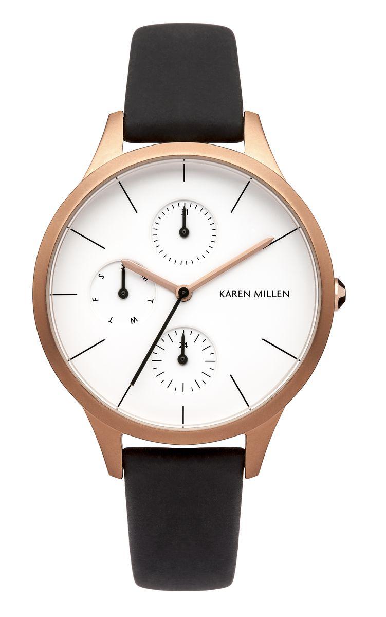 Часы наручные женские Karen Millen, цвет: золотой, черный, белый. KM144BRG