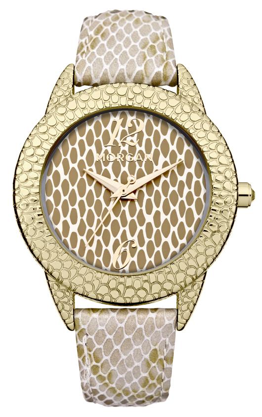 Наручные часы женские Morgan, цвет: золотой. M1180GM1180GТрехстрелочный механизм Miyota 2035; Сталь; Полированный корпус 38 X 46мм; Минеральное стекло;кремовый зеркальный циферблат;Без камней;кремовый Металлизированный ремень с имитацией кожи змеи; Водозащита 3 АТМ