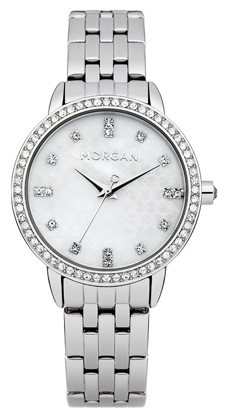 Наручные часы женские Morgan, цвет: стальной. M1222SMM1222SMТрехстрелочный механизм Mioyota PC21AE; Металл с IP Silver покрытием; Размер корпуса: o 31 mm; Минеральное стекло; Перламутровый циферблат; Чешские кристаллы; Браслет; Водозащита 3 ATM