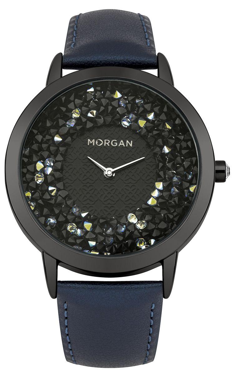 Часы наручные женские Morgan, цвет: черный, синий. M1249UBM1249UBОригинальные женские часы Morgan выполнены из нержавеющей стали с IP-покрытием, натуральной кожи и минерального стекла. Циферблат часов дополнен чешскими кристаллами и символикой бренда. Корпус часов оснащен кварцевым механизмом, имеет степень влагозащиты равную 3 atm, а также дополнен устойчивым к царапинам минеральным стеклом. Ремешок часов оснащен классической пряжкой, которая позволит с легкостью снимать и надевать изделие. Часы поставляются в фирменной упаковке. Часы Morgan подчеркнут изящность женской руки и отменное чувство стиля у их обладательницы.