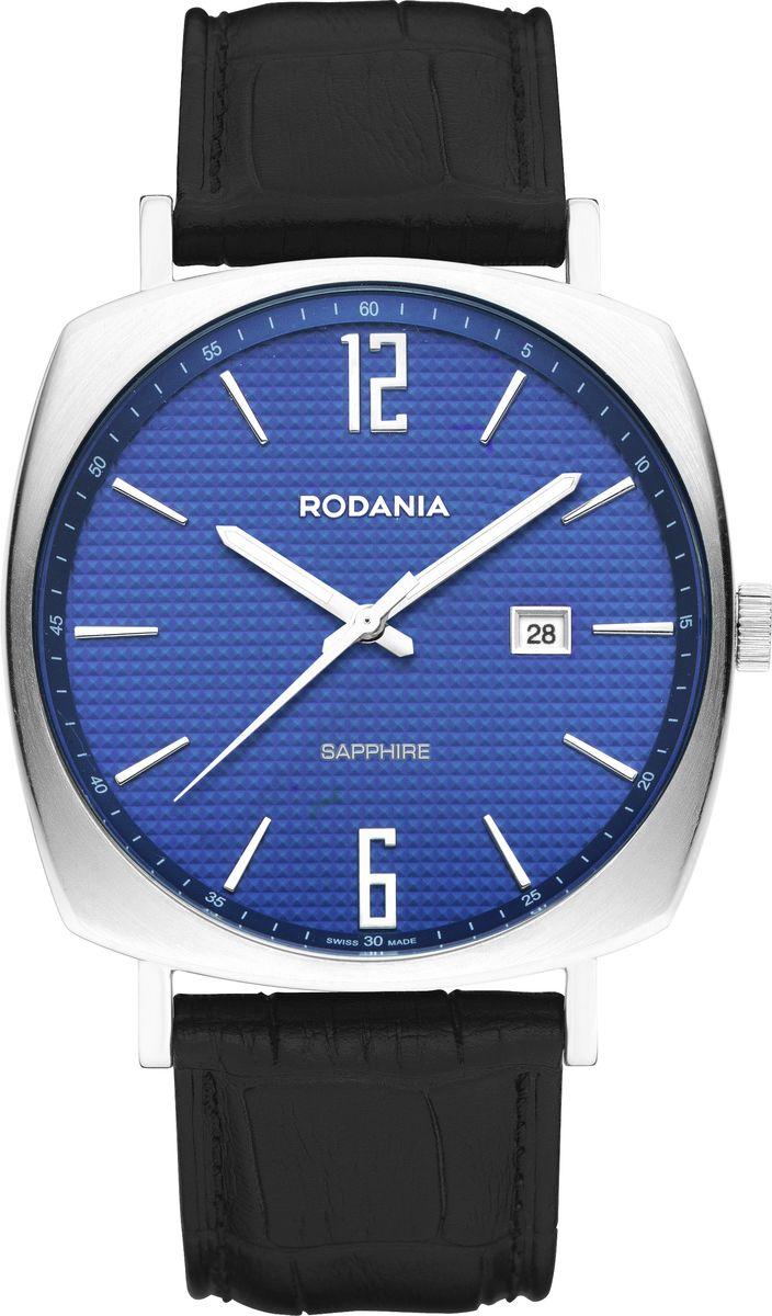 Наручные часы мужские Rodania, цвет: синий, серый, черный. 25124292512429Кварцевый механизм Ronda 505, синий гильошированный циферблат с индексом даты, диаметр корпуса 41 мм, нержавеющая сталь, сапфировое стекло, водонепроницаемость 50 м, браслет- натуральная кожа темно-синего цвета