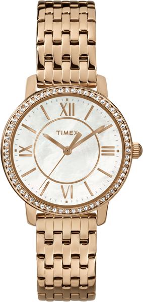 Часы наручные женские Timex, цвет: белый, золотой. TW2P80700TW2P80700Оригинальные женские часы Timex выполнены из нержавеющей стали и минерального стекла. Корпус изделия оформлен кристаллами Swarovski, циферблат часов дополнен перламутром и символикой бренда. Корпус часов оснащен кварцевым механизмом, имеет степень влагозащиты равную 3 atm, а также дополнен устойчивым к царапинам минеральным стеклом. Браслет часов оснащен складным замком, который состоит из двух элементов, что позволит регулировать длину изделия. Часы поставляются в фирменной упаковке. Часы Timex подчеркнут изящность женской руки и отменное чувство стиля у их обладательницы.