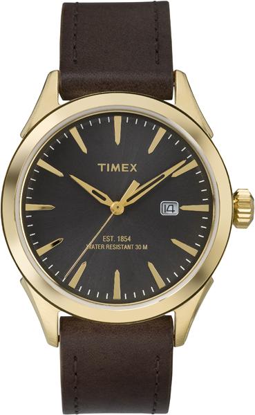 Часы наручные мужские Timex, цвет: черный, золотой, коричневый. TW2P77500TW2P77500Стильные мужские часы Timex, выполнены из металлического сплава, натуральной кожи и минерального стекла. Циферблат часов дополнен символикой бренда. Часы оснащены кварцевым механизмом, имеют степень влагозащиты равную 3 atm, а также дополнены устойчивым к царапинам минеральным стеклом и индикатором даты. Ремешок часов оснащен классической пряжкой, которая позволит с легкостью снимать и надевать изделие. Часы поставляются в фирменной упаковке. Часы Timex подчеркнут отменное чувство стиля своего обладателя.