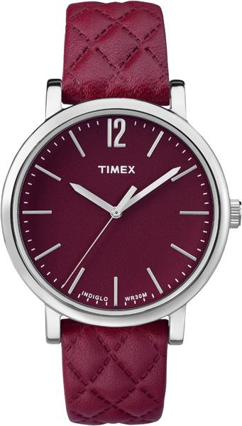 Наручные часы женские Timex, цвет: красный, серый. TW2P71200TW2P71200Корпус 38 мм стального цвета, циферблат красного цвета, ремешок из натуральной кожи красного цвета с тиснением, подсветка INDIGLO