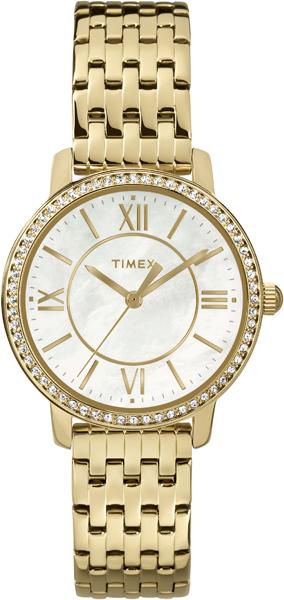 Часы наручные женские Timex, цвет: белый, золотой. TW2P80600TW2P80600Элегантные женские часы Timex выполнены из нержавеющей стали и минерального стекла. Корпус изделия инкрустирован кристаллами Swarovski. Циферблат часов дополнен вставкой из перламутра и символикой бренда. Корпус часов оснащен кварцевым механизмом, имеет степень влагозащиты равную 3 atm, а также дополнен устойчивым к царапинам минеральным стеклом. Браслет часов оснащен складным замком, который позволит с легкостью снимать и надевать изделие. Часы поставляются в фирменной упаковке. Часы Timex подчеркнут изящность женской руки и отменное чувство стиля у их обладательницы.