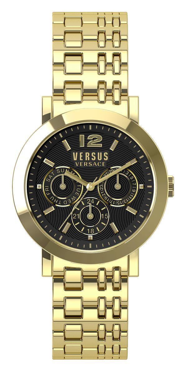 Наручные часы женские Versus Versace, цвет: золотой, черный. SOR090015SOR090015Многофункциональный механизм кварцевый Citizen_2025, сталь, диаметр циферблата 37 мм, браслет, застежка из стали, стекло минеральное, водонепроницаемость - 3 АТМ