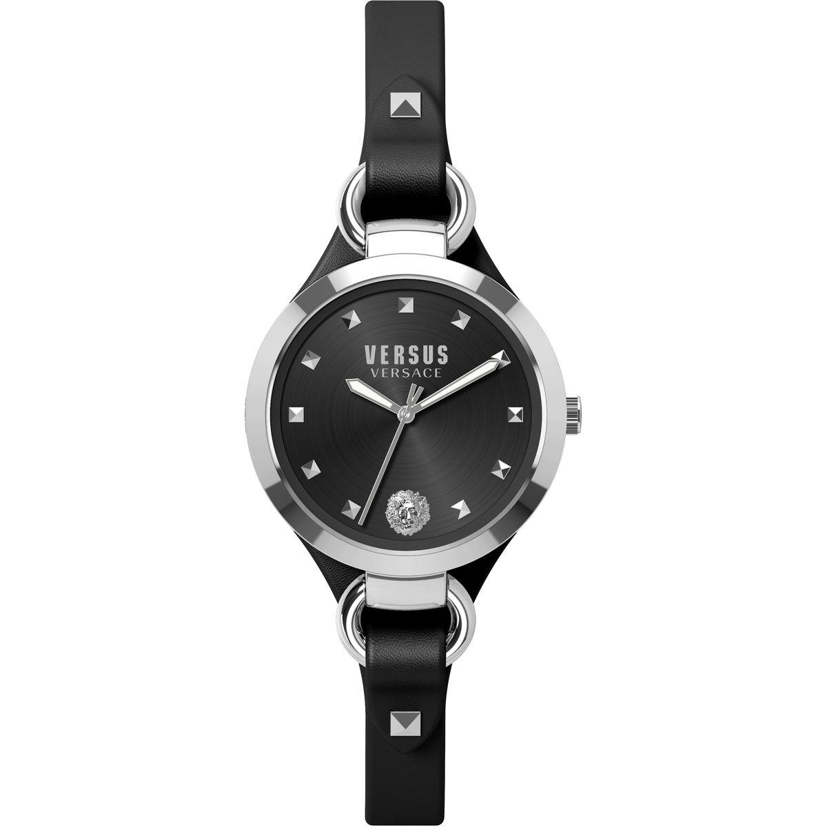 Наручные часы женские Versus Versace, цвет: стальной, черный. SOM020015SOM0200153 стрелки, механизм кварцевый Citizen_2025, сталь, диаметр циферблата 34 мм, кожаный ремешок, застежка из стали, стекло минеральное, водонепроницаемость - 3 АТМ