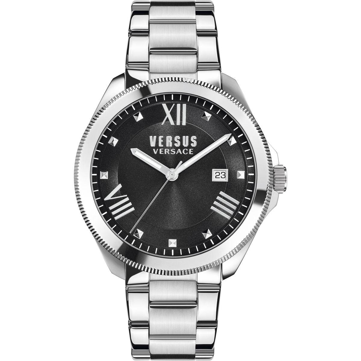 Наручные часы женские Versus Versace, цвет: стальной, черный. SBE040015SBE0400153 стрелки, механизм кварцевый Citizen_2025, сталь, диаметр циферблата 38 мм, браслет, застежка из стали, стекло минеральное, водонепроницаемость - 3 АТМ