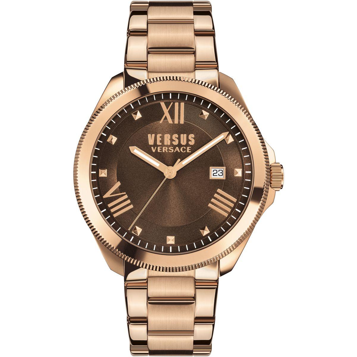 Наручные часы женские Versus Versace, цвет: золотой, коричневый. SBE070015SBE0700155 стрелки, механизм кварцевый Citizen_2025, сталь, диаметр циферблата 38 мм, браслет, застежка из стали, стекло минеральное, водонепроницаемость - 3 АТМ