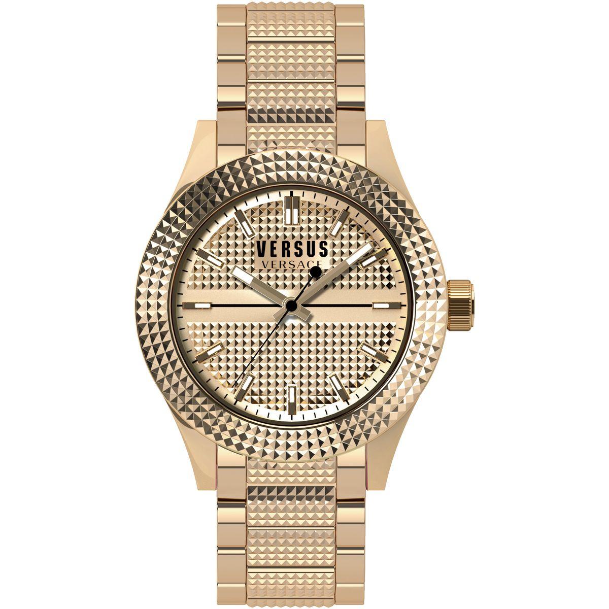 Наручные часы женские Versus Versace, цвет: золотой. SOJ100015SOJ1000154 стрелки, механизм кварцевый Citizen_2025, сталь, IP Gold покрытие, диаметр циферблата 38 мм, браслет из стали, застежка из стали, стекло минеральное, водонепроницаемость - 3 АТМ