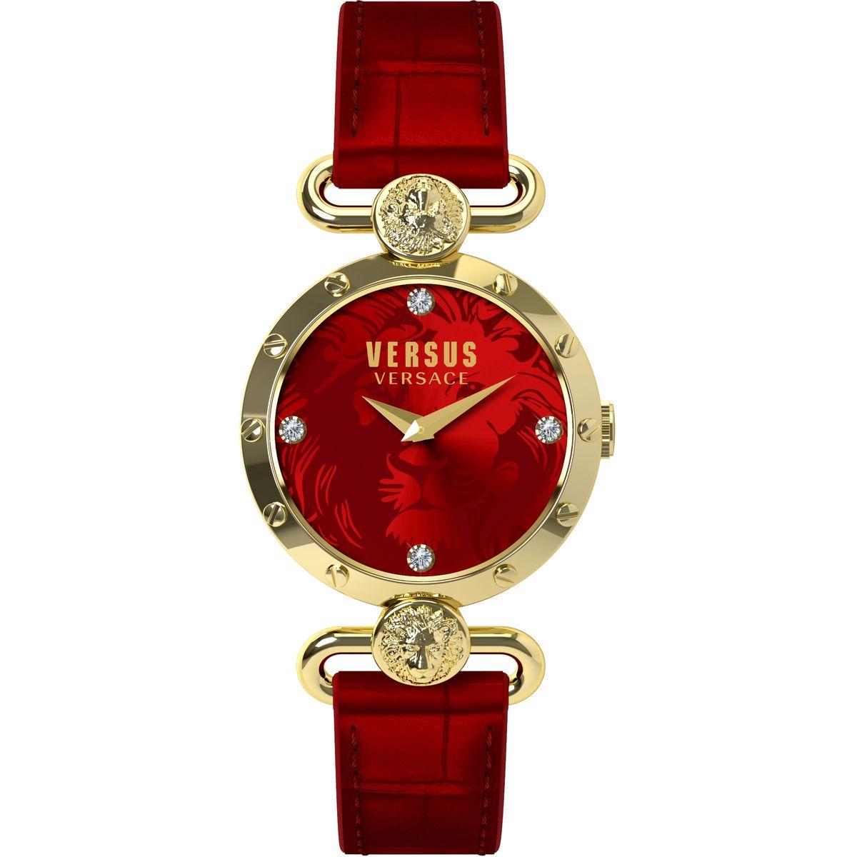 Наручные часы женские Versus Versace, цвет: золотой, красный. SOL030015SOL0300153 стрелки, механизм кварцевый Citizen_2025, сталь, диаметр циферблата 38 мм, кожаный ремешок, застежка из стали, стекло минеральное, водонепроницаемость - 3 АТМ