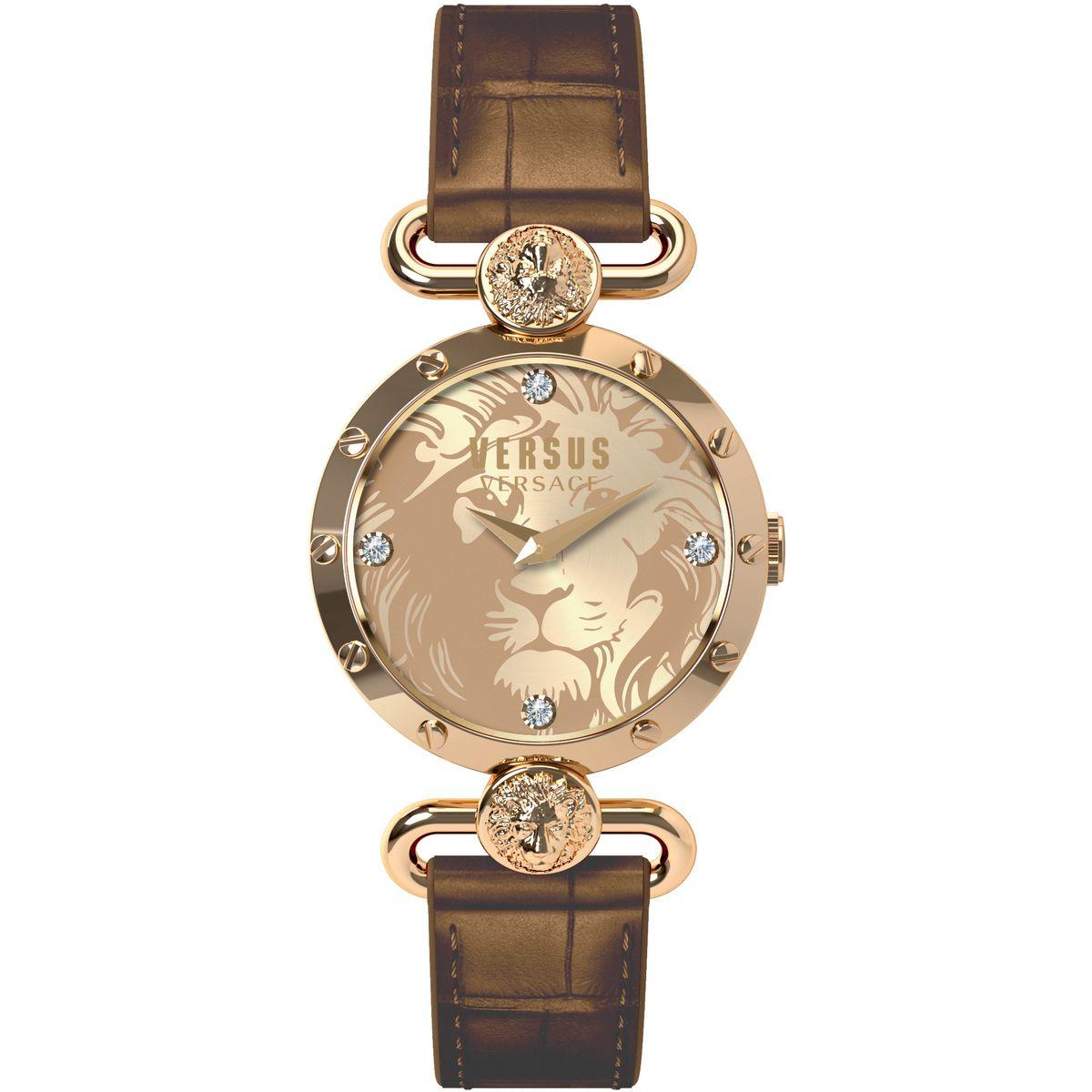Наручные часы женские Versus Versace, цвет: золотой, коричневый. SOL060015SOL0600153 стрелки, механизм кварцевый Citizen_2025, сталь, диаметр циферблата 38 мм, кожаный ремешок, застежка из стали, стекло минеральное, водонепроницаемость - 3 АТМ