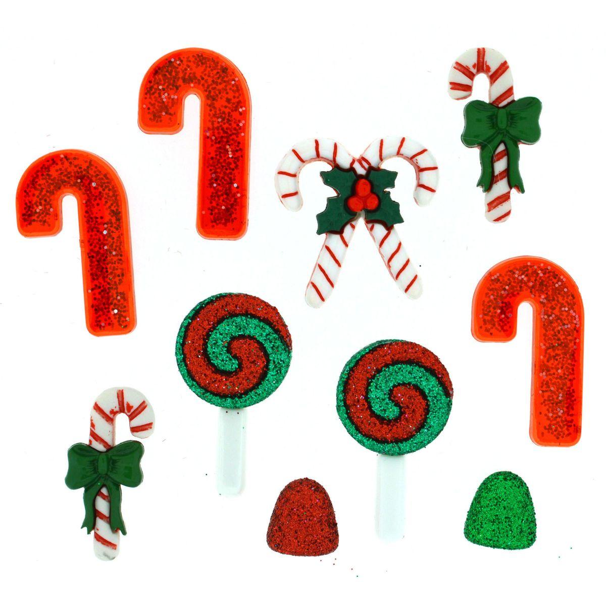 Пуговицы декоративные Dress It Up Рождественские сладости, 10 шт7713490Набор Dress It Up Рождественские сладости состоит из 10 декоративных пуговиц, выполненных из цветного пластика в виде леденцов. Такие пуговицы подходят для любых видов творчества: скрапбукинга, декорирования, шитья, изготовления кукол, а также для оформления одежды. С их помощью вы сможете украсить открытку, фотографию, альбом, подарок и другие предметы ручной работы. Пуговицы разных цветов имеют оригинальный и яркий дизайн. Средний размер пуговиц: 3 х 1,5 х 0,3 см.