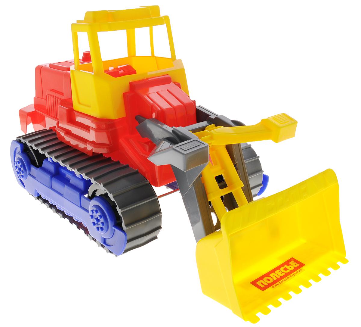 Полесье Трактор-погрузчик гусеничный цвет красный желтый7377_красный, желтыйТрактор-погрузчик гусеничный Полесье, выполненный из прочного материала, отлично подойдет ребенку для различных игр. Трактор оснащен большим ковшом, с помощью которого можно перемещать материалы (камушки, песок, веточки), убирать строительный мусор или расчищать площадку. В просторную незастекленную кабину машины легко поместится мини-фигурка водителя. Трактор снабжен гусеничным механизмом со свободным ходом, что обеспечивает игрушке устойчивость и хорошую проходимость. С этим реалистично выполненным трактором-погрузчиком ваш малыш часами будет занят игрой.