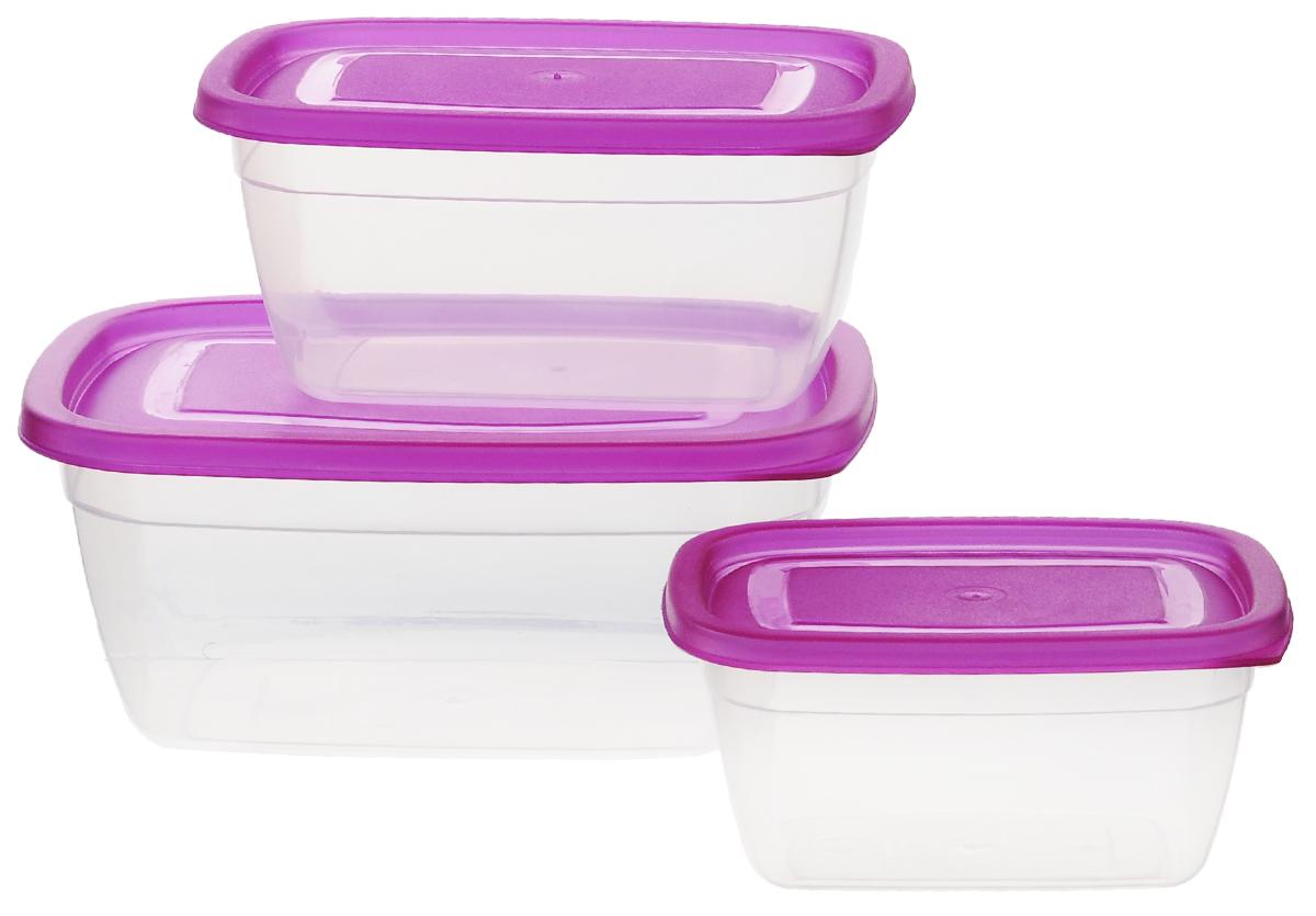 Набор глубоких контейнеров Dunya Plastik, цвет: прозрачный, фиолетовый, 3 шт30080_прозрачный, фиолетовыйНабор Dunya Plastik состоит из трех прямоугольных контейнеров разного объема. Изделия выполнены из высококачественного пищевого пластика без примеси бисфенола. Контейнеры оснащены плотно закрывающимися крышками. Подходят для хранения и транспортировки пищи. Складываются друг в друга, что экономит пространство при хранении в шкафу. Подходят для использования в микроволновой печи без крышки (до +100°С), для заморозки при минимальной температуре -40°С. Можно мыть в посудомоечной машине. Объем контейнеров: 0,55 л; 0,95 л; 1,5 л. Размер контейнеров: 14 см х 10 см х 7 см; 17 см х 12 см х 8 см; 20 см х 15 см х 9 см.