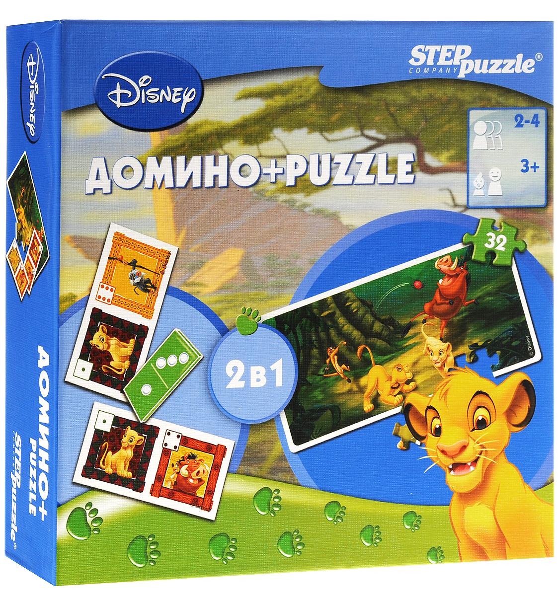 Step Puzzle Домино и пазл Король Лев08003Домино и пазл Step Puzzle Король Лев интересное развлечение для вашего ребенка, сочетающее в себе домино и пазл. Из 18 элементов малыш сможет собрать пазл с изображением персонажей одноименного мультфильма. Герои любимого многими малышами мультфильма Король лев, изображенные на качественных картонных карточках, увлекут ребенка в веселый процесс игры. Внаборе имеется: 18 элементов для сборки пазла, 28 карточек для игры в домино и инструкция. Сочетание домино и пазла формирует сосредоточенность, память, аналитическое мышление, логику и внимание. Помимо этого, домино Король Лев учит ребенка умению играть в коллективе.