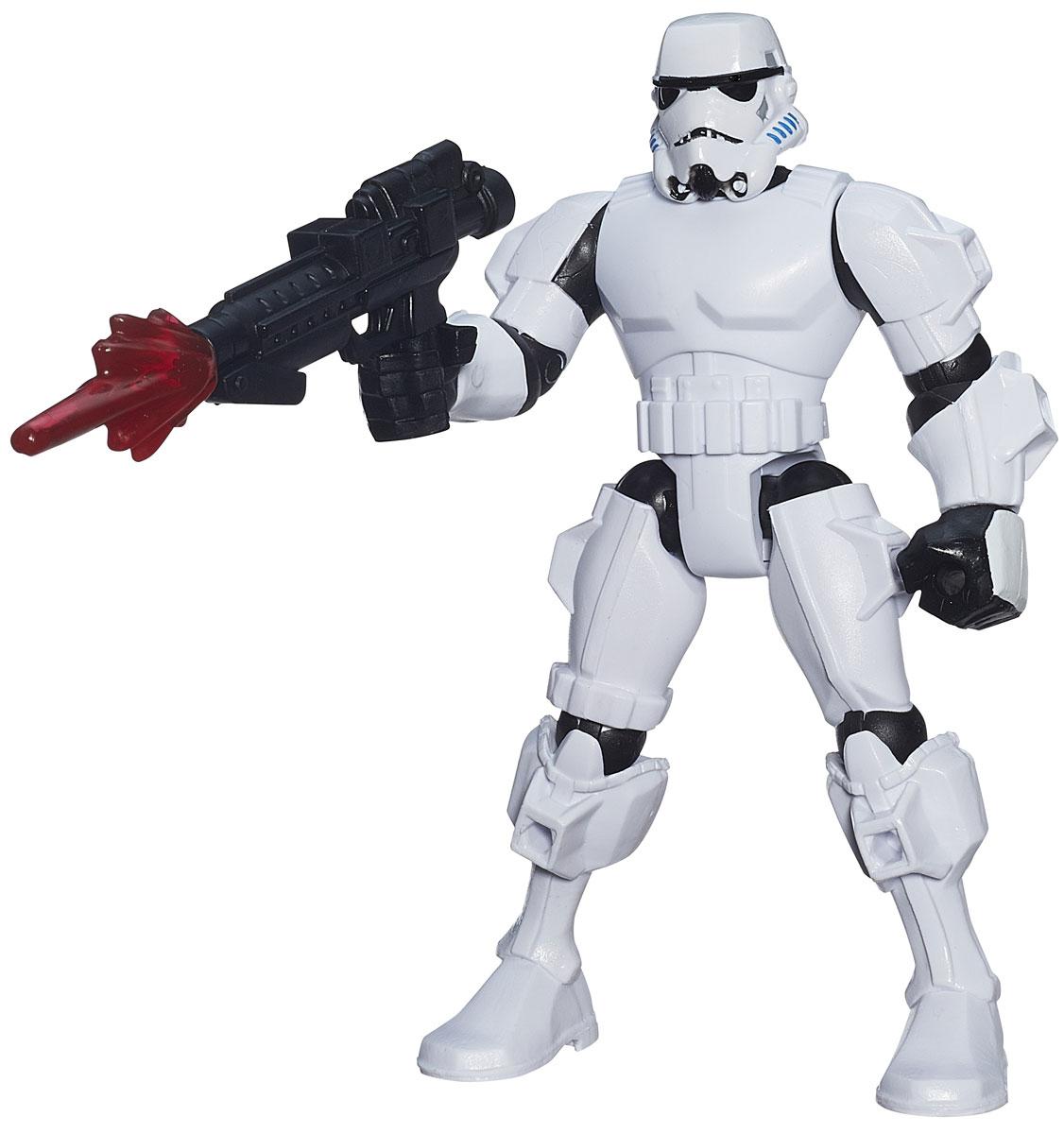 HeroMashers Фигурка StormtrooperB3662_B3656Фигурка HeroMashers Stormtrooper выполнен в виде героя всеми любимой фантастической саги Звездные войны имперского штурмовика, вооруженного мощной бластерной винтовкой. Фигурка из пластика проработана до мельчайших деталей и является точной копией своего прототипа в уменьшенном размере. Конечности игрушки подвижны: поворачивается голова, сгибаются ноги и руки. Все это сделает игру реалистичной и разнообразной. Еще одной особенностью данной серии фигурок является то, что конечности разных фигурок взаимозаменяемы, поэтому вы сможете создать свою собственную, уникальную фигурку! Такая фигурка непременно понравится поклоннику Звездных войн и станет замечательным украшением любой коллекции. В комплекте: фигурка, бластерная винтовка.