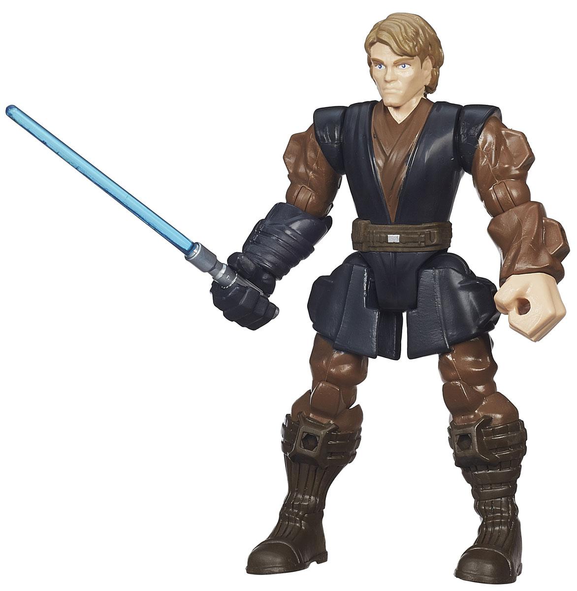 HeroMashers Фигурка Anakin SkywalkerB3660_B3656Фигурка HeroMashers Anakin Skywalker выполнен в виде героя всеми любимой фантастической саги Звездные войны, молодого Энакина Скайуокера. Фигурка из пластика проработана до мельчайших деталей и является точной копией своего прототипа в уменьшенном размере. Конечности игрушки подвижны: поворачивается голова, сгибаются ноги и руки. Все это сделает игру реалистичной и разнообразной. Еще одной особенностью данной серии фигурок является то, что конечности разных фигурок взаимозаменяемы, поэтому вы сможете создать свою собственную, уникальную фигурку! Такая фигурка непременно понравится поклоннику Звездных войн и станет замечательным украшением любой коллекции. В комплекте: фигурка, световой меч.