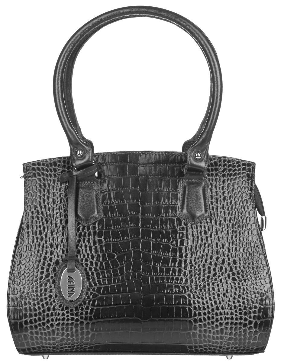 Сумка женская Afina, цвет: графитовый. 10731073Стильная женская сумка Afina, выполненная из высококачественной натуральной лаковой кожи, оформлена тиснением под рептилию, а также дополнена стильной фурнитурой и подвеской с символикой бренда. Изделие содержит одно отделение, которое закрывается на застежку-молнию. Внутри расположены три отсека. В центральном отсеке есть два накладных кармашка для мелочей и телефона и врезной карман на застежке-молнии. Снаружи, на задней стороне сумки, расположен карман на молнии. Сумка оснащена двумя ручками средней высоты и металлическими ножками. Роскошная сумка внесет элегантные нотки в образ и подчеркнет ваше отменное чувство стиля.