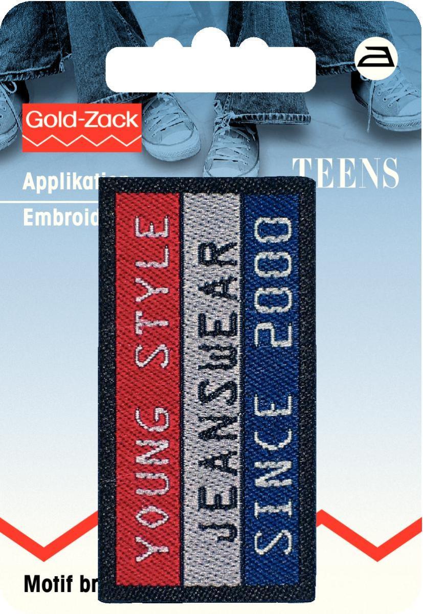 925674 Аппликация прямоугольный джинсовый ярлык серого/красного/синего цв. Young (сталь)yle Prym343232