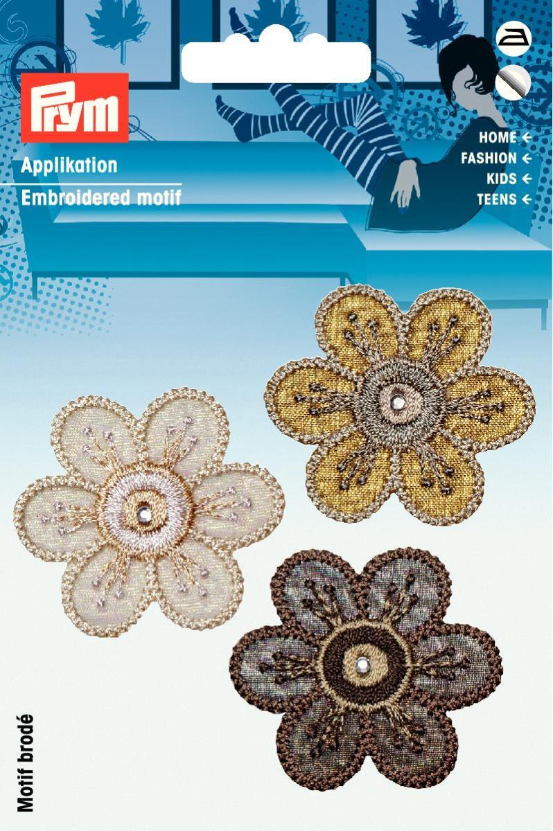 926532 Аппликация самоклеющаяся/ приутюживающаяся Цветы коричневый + натуральн. цв. Prym343300