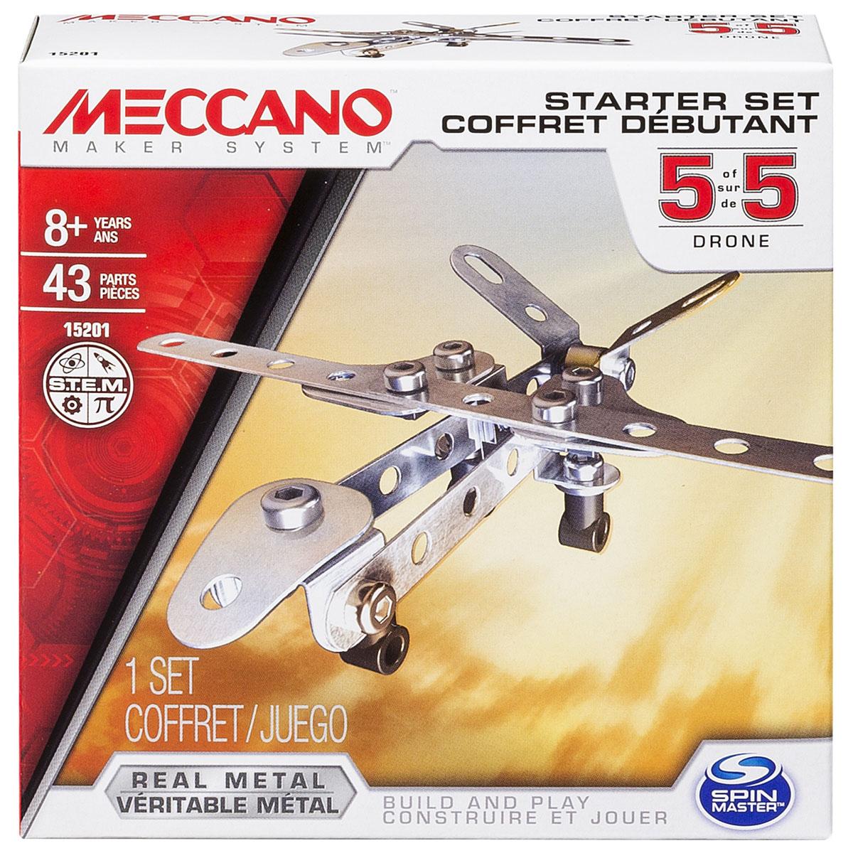 Meccano Конструктор Базовая модель 591783_20070930Конструктор Meccano Базовая модель 5 позволит вашему ребенку весело и с пользой провести время. Базовые наборы созданы для ознакомления с принципами сборки конструкторов Meccano. Набор включает в себя 43 элемента из металла и пластика, с помощью которых можно собрать модель в виде дрона. В набор также входят все необходимые для сборки инструменты и схематичная инструкция. Конструктор Meccano Базовая модель 5 поможет ребенку развить мелкую моторику рук, координацию движений и усидчивость.