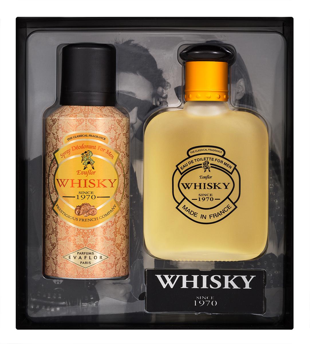 Evaflor Подарочный набор Whisky мужской: Туалетная вода, 100 мл , дезодорант, 75 мл42896Подарочный набор для мужчин : туалетная вода 100мл, парфюмированный дезодорант 150 мл.